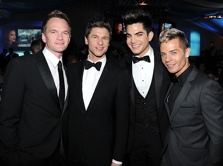 Neil Patrick Harris, David Burtka, Adam Lambert and Sauli Koskinen
