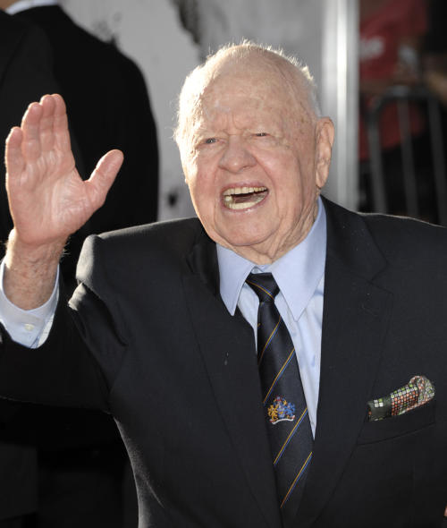 """FILE - In this April 28, 2011 file photo, Actor Mickey Rooney arrives at the world premiere of the newly restored feature film """"An American in Paris"""" during the opening night of the TCM Classic Film Festival in Los Angeles. Rooney accuses his stepson and others of abusing him and stealing his income in a lawsuit filed Thursday, Sept. 15, 2011, in Los Angeles Superior Court. (AP Photo/Dan Steinberg, File)"""