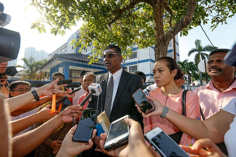 Jelutong MP RSN Rayer speaks to media personnel outside the northeast district police headquarters in George Town March 15, 2019. — Picture by Sayuti Zainudin