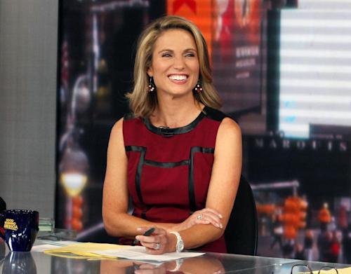 "This Sept. 13, 2013 photo released by ABC shows co-host Amy Robach during a broadcast of ""Good Morning America,"" in New York. A month after undergoing a mammogram on ""Good Morning America,"" ABC's Amy Robach said Monday, Nov. 11, she has breast cancer and will have a double mastectomy and reconstructive surgery this week. (AP Photo/ABC, Heidi Gutman)"
