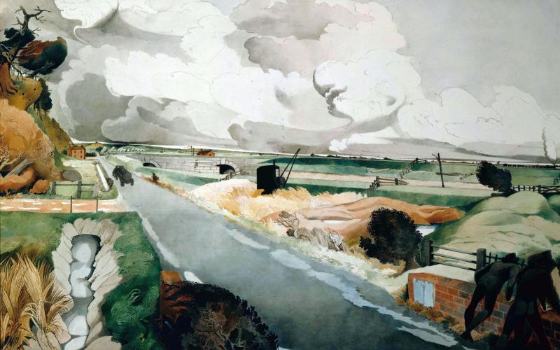 Edward Burra's watercolour The Country Road, painted circa 1940 - © Estate of the Artist, co Lefevre Fine Art Ltd., London