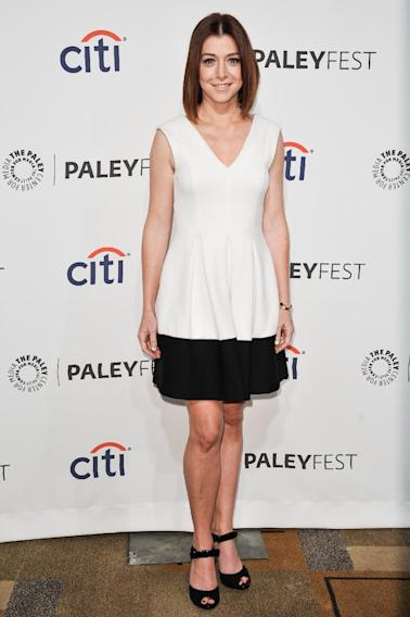 "Alyson Hannigan arrives at PALEYFEST 2014 - ""How I Met Your Mother"" Series Farewell on Saturday, March 15, 2014, in Los Angeles. (Photo by Richard Shotwell/Invision/AP)"