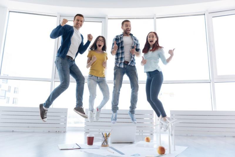 family jumps for joy