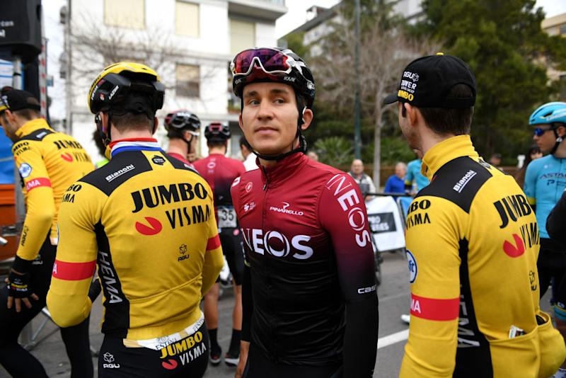 VILLAREAL SPAIN FEBRUARY 05 Start Michal Kwiatkowski of Poland and Team INEOS during the 71st Volta a la Comunitat Valenciana 2020 Stage 1 a 180km stage from Castell to VilaReal VueltaCV VCV2020 on February 05 2020 in Villareal Spain Photo by David RamosGetty Images
