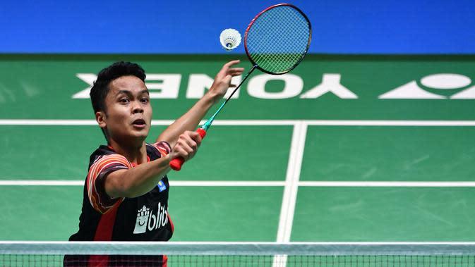 Tunggal putra Indonesia, Anthony Sinisuka Ginting. (TOSHIFUMI KITAMURA/AFP)
