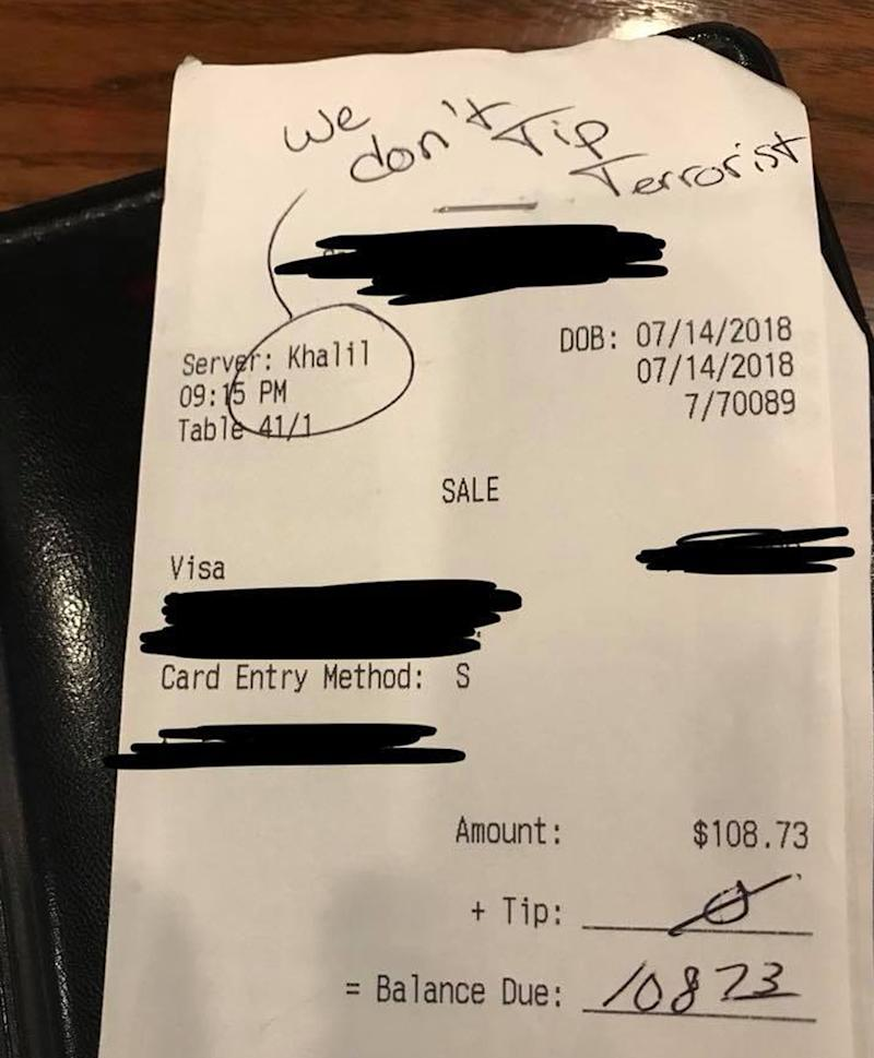 Racist customer leaves shocking note for Texas waiter