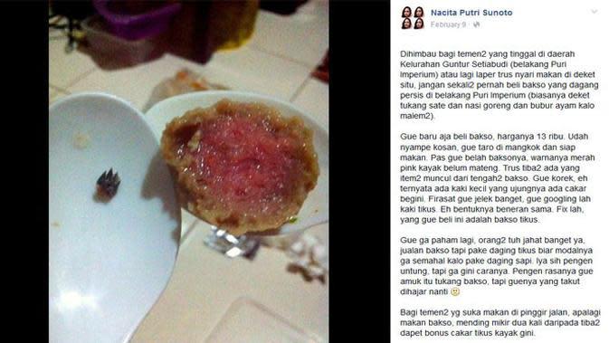 Seorang netizen kecele saat beli bakso. Dia mendapat 'kejutan' dan mengetahui kalau baksonya itu dari daging tikus, yaiks!