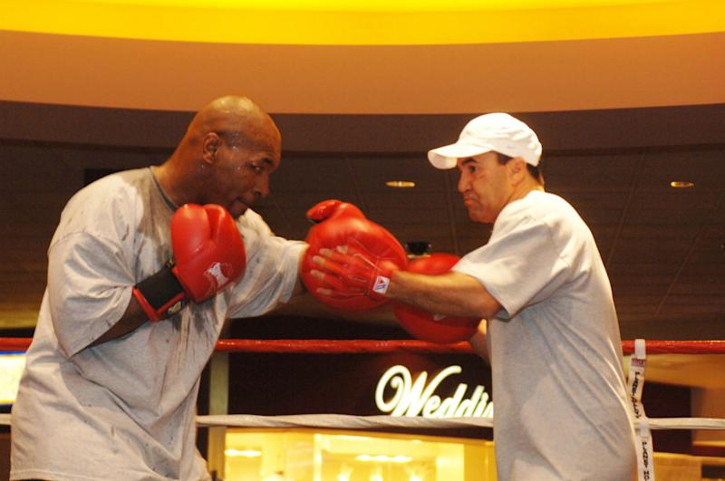 Mike Tyson and World Champion Trainer Jeff Fenech during Iron Mike Tyson Starts Training Camp. (Photo by Denise Truscello/WireImage)