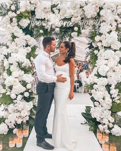 <p>Kayla wore a stunning, floor length gown to the suprise engagement party. Photo: Instagram/Tobi Pearce </p>