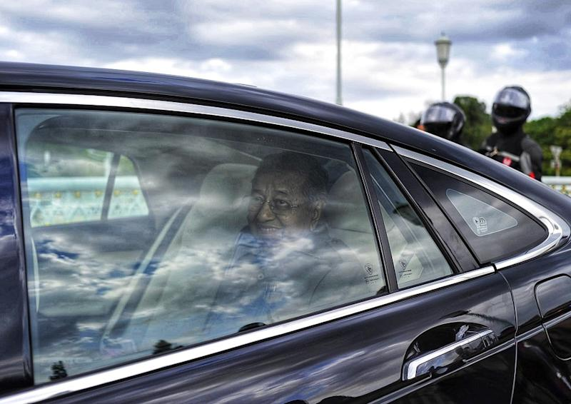 Interim Prime Minister Tun Dr Mahathir Mohamad leaves Perdana Putra February 25, 2020. — Picture by Shafwan Zaidon