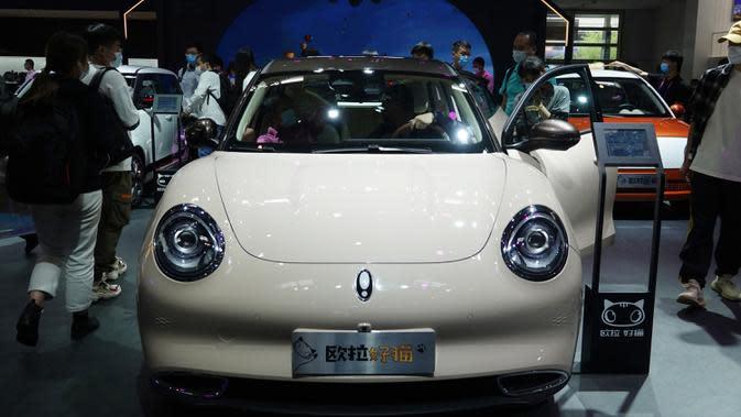 Kendaraan energi baru dari Great Wall Motors dipamerkan dalam Pameran Otomotif Internasional Beijing 2020 di Beijing, China, 29 September 2020. Sebanyak 785 mobil tahun ini ditampilkan di Pameran Otomotif Internasional Beijing atau Auto China 2020. (Xinhua/Ding Hongfa)
