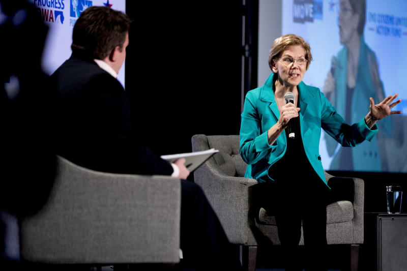 Democratic presidential candidate Sen. Elizabeth Warren, D-Mass., speaks at We The People 2020: Protecting Our Democracy After Citizens United at Curate, Sunday, Jan. 19, 2020, in Des Moines, Iowa. (AP Photo/Andrew Harnik)