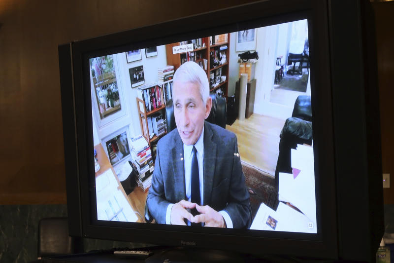 Dr. Anthony Fauci, director of the National Institute of Allergy and Infectious Diseases, speaks remotely during a virtual Senate Committee for Health, Education, Labor, and Pensions hearing, Tuesday, May 12, 2020 on Capitol Hill in Washington.  (Win McNamee/Pool via AP)