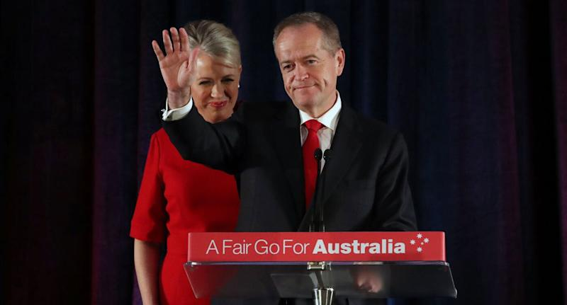 2019 Federal election: Labor Party and Opposition leader Bill Shorten concedes defeat. Pictured with him is his wife Chloe Shorten. Source: AAP