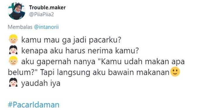 Chat nembak pacar (Sumber: Twitter/PiiaPiia2)