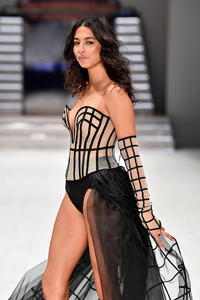 <p>The stunning model took centre stage while showing off the swimwear label's latest racy collection, showing her ex-boyfreind Xavier Sammuels what he's missing out on after the pair called it quits on their relationship. Source: Getty </p>