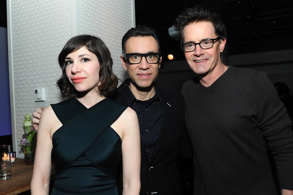 IMAGES DISTRIBUTED FOR IFC - Carrie Brownstein, Fred Armisen and Kyle MacLachlan attend the Portlandia Season 4 Premiere Party on Thursday, February, 27, 2014 in New York. (Photo by Diane Bondareff/Invision for IFC/AP Images)