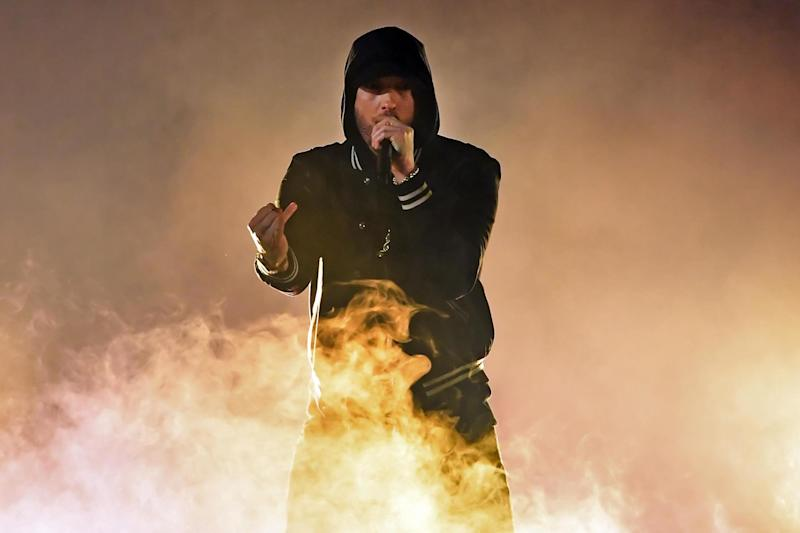 Eminem performs on 11 March 2018 in Inglewood, California: Kevin Winter/Getty Images for iHeartMedia