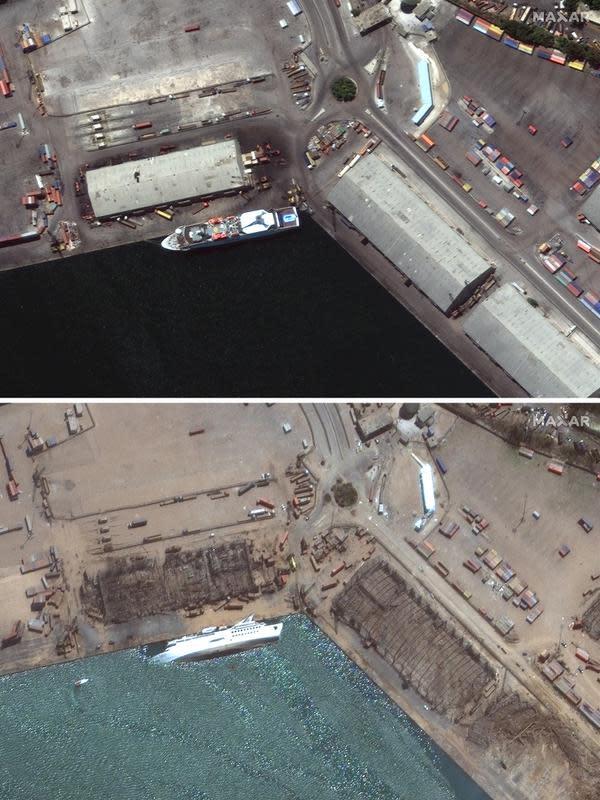 Kombinasi citra satelit yang disediakan oleh Maxar Technologies ini menunjukkan pelabuhan Beirut di Lebanon, atas, pada 31 Juli 2020, dan area yang sama pada Rabu, 5 Agustus 2020, sehari setelah ledakan besar yang membuat seluruh blok kota porak-poranda. (© 2020 Maxar Technologies via AP)