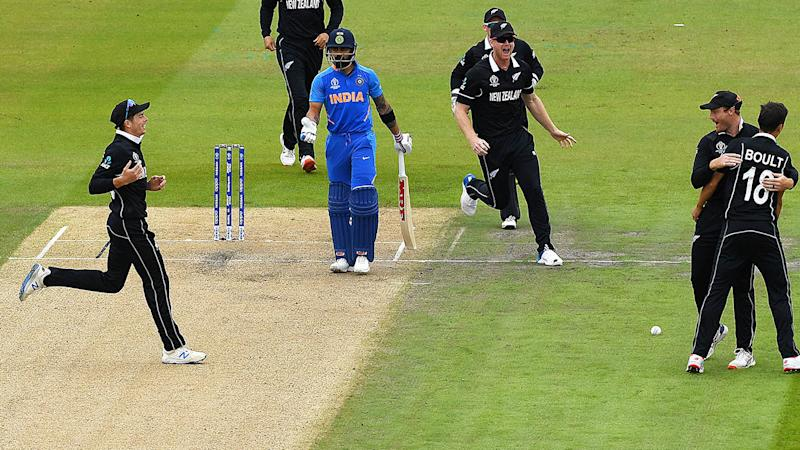 Virat Kohli made just 1 as India slumped to a shock loss. (Photo by Clive Mason/Getty Images)