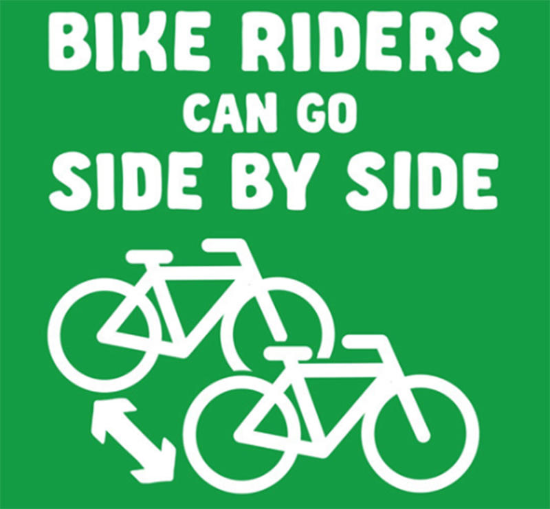 VicRoads shared this educational graphic explaining 'two abreast' side-by-side bicycle riding is permitted.