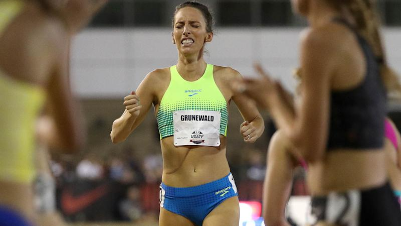 Gabriele Grunewald finishes the 1500m at the 2017 USA Track & Field Outdoor Championships. (Photo by Patrick Smith/Getty Images)