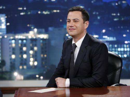 "This July 3, 2013 photo released by ABC shows Jimmy Kimmel on ""Jimmy Kimmel Live."" ABC is apologizing for a segment of ""Jimmy Kimmel Live"" in which a child joked about killing Chinese to help erase the U.S. debt. The boy's unscripted comment came during a comedy bit in which youngsters commented on news events. ABC's apology came in response to a complaint from a group called 80-20, which identifies itself as a pan Asian-American political organization. (AP Photo/ABC, Randy Holmes, File)"