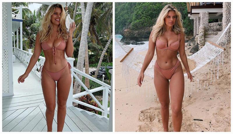 A Bikini A Day blogger Tash Oakley pictured in two nude coloured bikinis