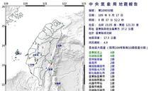 臺東成功規模4.9地震 最大震度花東4級
