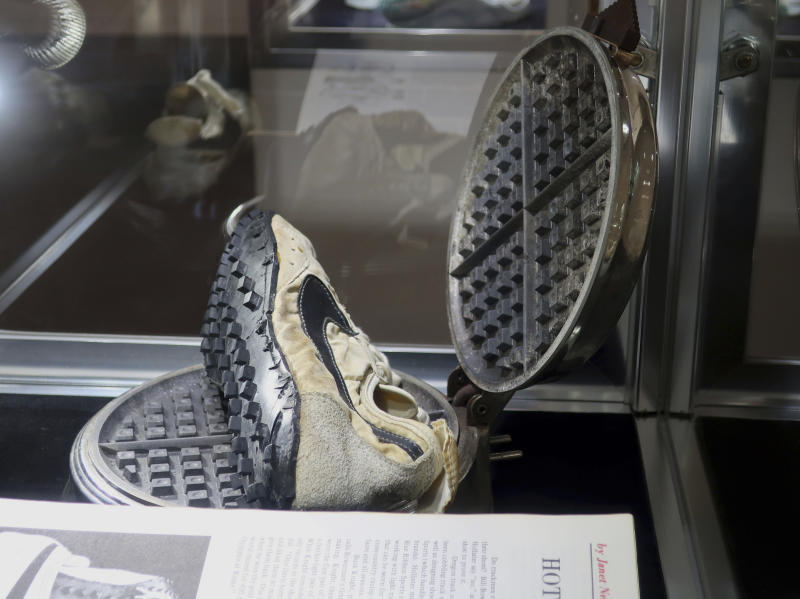 "Nike's ""moon shoes"" were estimated to sell for $160,000 at auction, but ended up selling for $437,500. (AP Photo/Ted Shaffrey)"