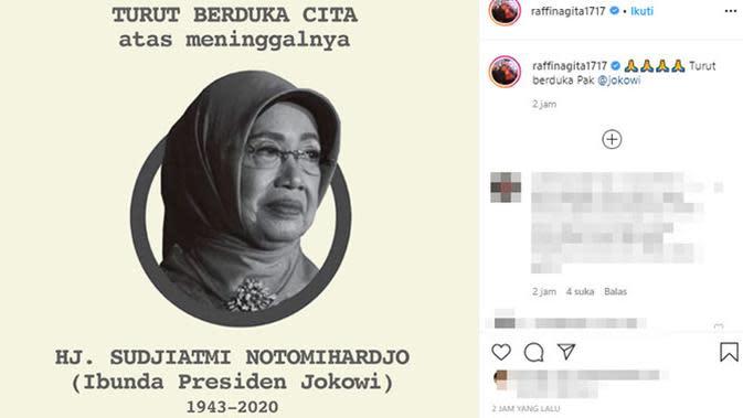 Ungkapan duka meninggalnya ibunda Presiden Jokowi dari para artis. (Sumber: Instagram/@raffinagita1717)