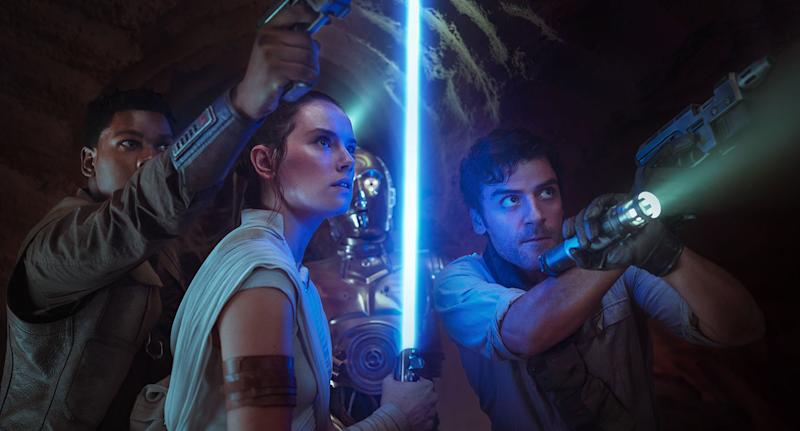 John Boyega is Finn, Daisy Ridley is Rey, Anthony Daniels is C-3PO and Oscar Isaac is Poe Dameron in this still from <i>Star Wars: The Rise of Skywalker</i>. (2019 Lucasfilm Ltd. & ™, All Rights Reserved.)
