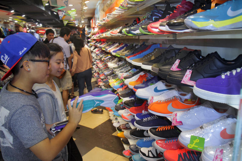 Sneaker Street, athletic shoe store. (Photo by: Jeffrey Greenberg/Universal Images Group via Getty Images)