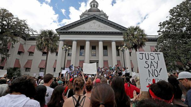 PHOTO: The Tallahassee community attends a gun control rally on the Capitol steps. (Susan Stocker/SF Sun Sentinel/Polaris)