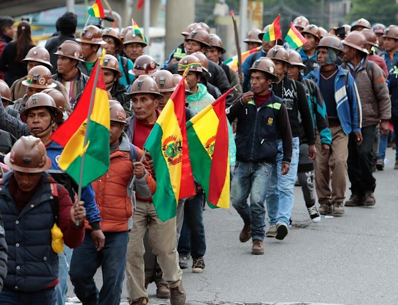 Mine workers attend a rally in support Bolivia's President Evo Morales in La Paz