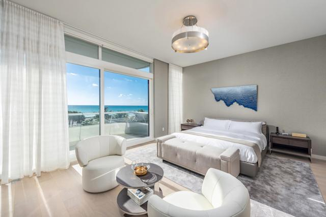 The Miami apartment features bedrooms with ocean views.