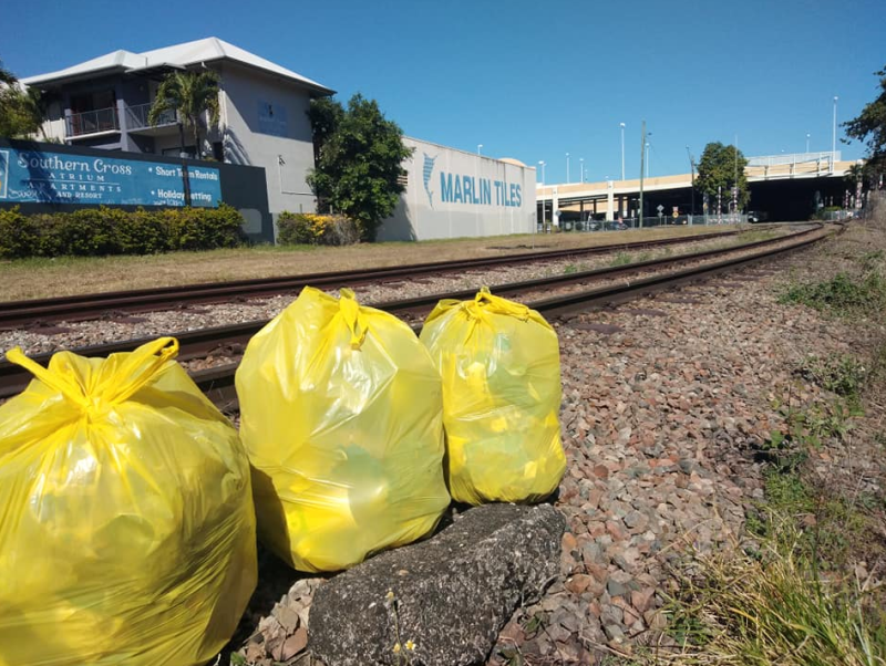 Three bags sat near a train track Mr Wyse has cleaned up. Source: Supplied