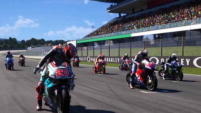 Jalannya persaingan MotoGP Virtual Race Jilid I yang dimenangkan Alex Marquez. (Twitter/MotoGP)