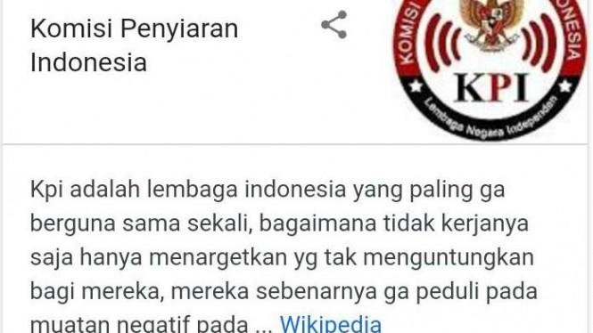 Waduh, Artikel KPI di Wikipedia Diacak-acak Umpatan Kasar