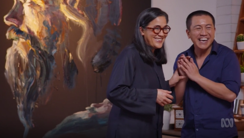 Anh Do with Kylie Kwong in an episode of Anh's Brush with Fame. Viewers were confused by Anh painting Ms Kwong with blue square glasses when she was wearing red round ones.