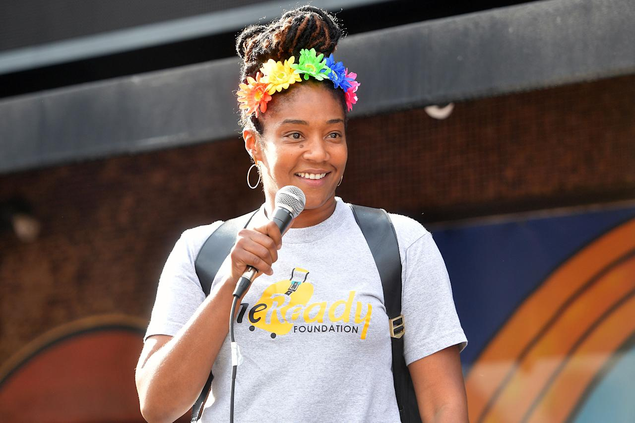 <p>Tiffany Haddish speaks at the Comic and Hollywood Communities Coming Together event to mark the Juneteenth holiday in West Hollywood on Friday.</p>