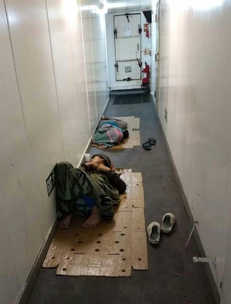 Cellphone video footage and images provided to AFP showed the poor conditions for Indonesian fishermen on board a Chinese fishing vessel