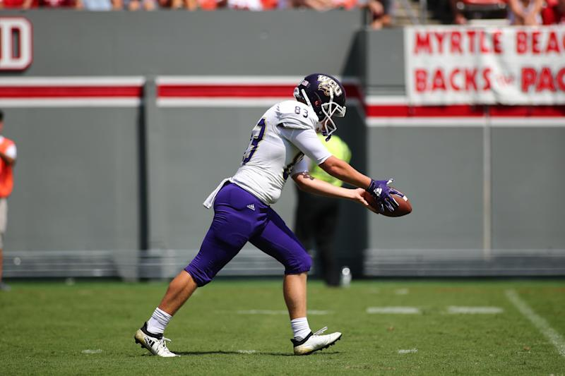 RALEIGH, NC - SEPTEMBER 07: Western Carolina Catamounts place kicker Brandon Dickerson (83) with the ball during the 1st half of the Western Carolina Catamounts football game versus the North Carolina State Wolfpack on September 7th, 2019, at Carter-Finley Stadium in Raleigh, NC. (Photo by Jaylynn Nash/Icon Sportswire via Getty Images)