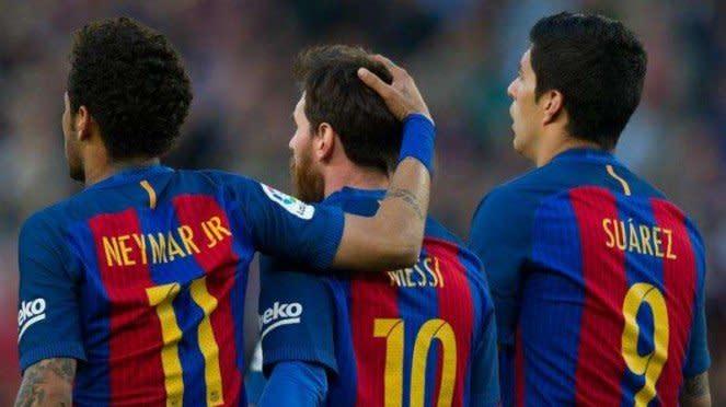 Neymar saat masih membela Barcelona, bersama Lionel Messi dan Luis Suarez