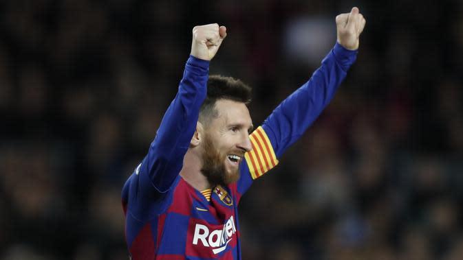 Penyerang Barcelona, Lionel Messi. (AP Photo/Joan Monfort)