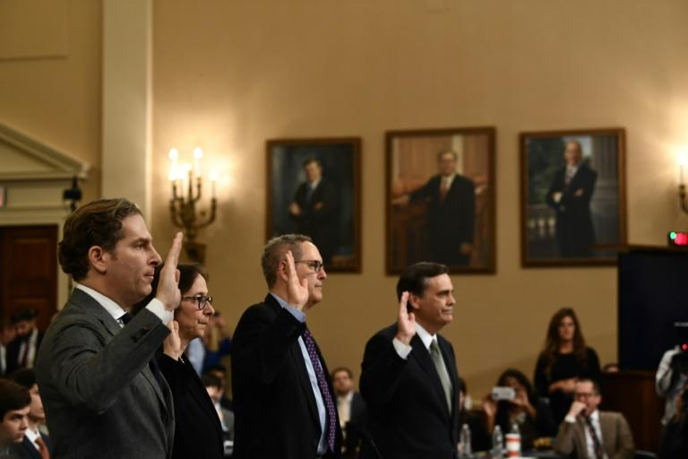 US constitutional experts take the oath of office at a House Judiciary Committee hearing on the impeachment of President Donald Trump