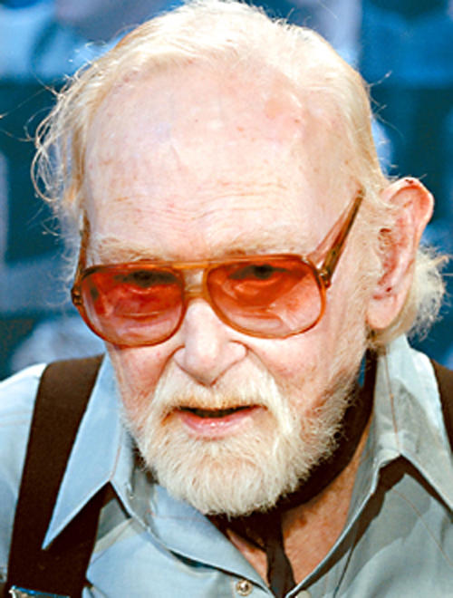 """This November 3, 2005 photo released by SCVTV (Santa Clarita Valley Television) shows Harry Carey, Jr. during an interview with Leon Worden at the SCV Public Channel 20 studio in Santa Clarita, Calif. Carey Jr., a character actor who starred in such Westerns as """"3 Godfathers"""" and """"Wagon Master,"""" died Thursday, . He was 91. (AP Photo/SCVTV)"""