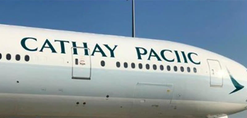 Cathay Pacific shared an image of a glaring error on an aircraft livery in Hong Kong. Source: @cathaypacific/ Twitter