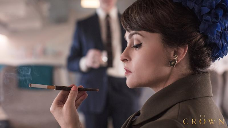 A photo of Helena Bonham Carter as Princes Margaret on The Crown season three. Photo: Netflix.
