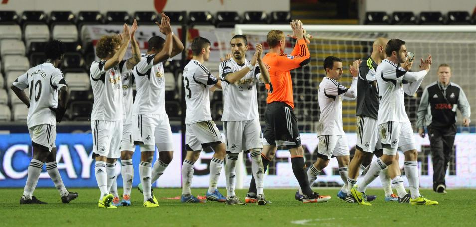 Swansea City acknowledge their fans after their English Premier League soccer match against Stoke City in Wales